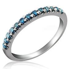 0.25 CARAT FANCY BLUE ROUND CUT DIAMOND WEDDING ANNIVERSARY BAND 10K WHITE GOLD