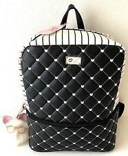 Luv Betsey by Betsey Johnson Backpack Quilted Hearts Stripes Black White NWT