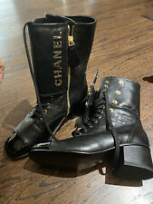 chanel lace up boots