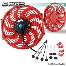 "Universal 12V Engine Cooling Fan Slim Pull Push Racing Electric Radiator Red 12"""