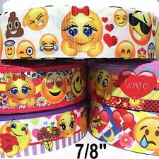 "5 Yard mixed lot - Grosgrain Ribbon 7/8"" or 1"" EMOJI CARTOON Wholesale Bulk"