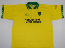 1994-1995 NORWICH CITY SIGNED MITRE HOME FOOTBALL SHIRT (SIZE XL)