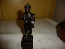 #1122 vtg Hand Carve wood Culture figure African Man & Drum 5 1/4'' T