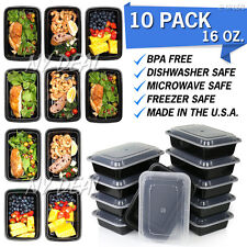 10 Pack 16 oz Meal Prep Containers with Lids High Quality Plastic Food Lunch Box