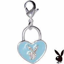 RARE Playboy Charm Silver Plated Swarovski Crystal Bunny Heart Lock Blue Enamel