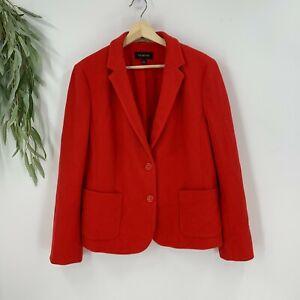 Talbots Womens Textured Blazer Jacket Size 14 Red Orange 2 Button Front Career
