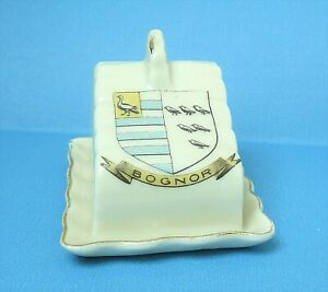 Unmarked Crested China - Model of CHEESE DISH - Crested for BOGNOR - V. Good
