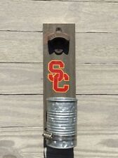 USC Wall mount bottle cap opener Stained wood & galvanized cup
