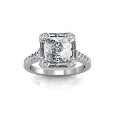 2.00 Carat GIA Certified Cushion Cut Diamond Engagement Ring 18k White Gold