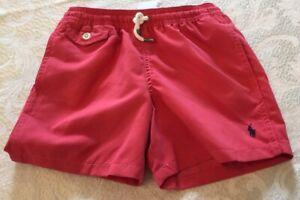 NWT Polo Ralph Lauren Boys Swim Trunks Suit Pony Logo Mesh Lined Coral Size L