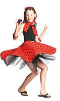 Childrens Red Rock 'N' Roll Skirt Fancy Dress Grease Girls 50s Costume Kids