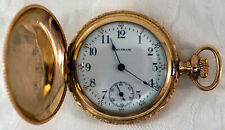 Waltham 1902 Seaside 14K Gold Filled Pocket Watch Size 0s In fully Working Order