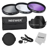 Neewer 62mm UV CPL FLD Filter Accessory Kit UV CPL FLD Lens Cap for Canon Nikon