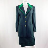 NEW Vintage ESCADA Navy & Green Pinstripe Wool Skirt & Jacket Suit Size L 42