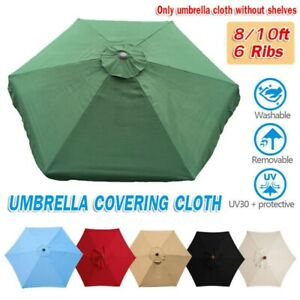 10ft 6 Ribs Patio Umbrella Canopy Top Cover Waterproof Replacement Fabric Cloth
