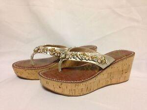 Sam Edelman Randi Platform Sandal 7 M Gold Leather A6555F1250  New w/ Box