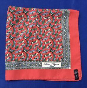 "ALAIN FIGARET ""Butterflies"" Silk Pocket Sq./ Handkerchief M. I. Italy"