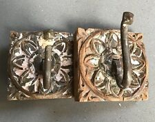 ANTIQUE INDIAN SWAN NECK HOOKS. A PAIR, POWDER PINK. ARCHITECTURAL SALVAGE.