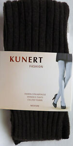 Kunert Medium Size 40-42 Thick Ribbed Patterned Fashion Tights in Brown