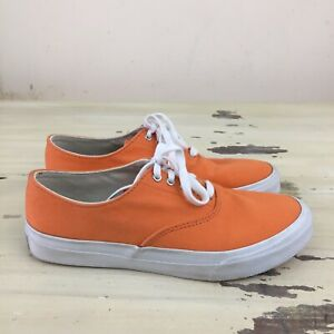 SPERRY TOP SIDERS - Orange Canvas Cloth Boat Boaters Plimsoll Shoes, Mens 7.5