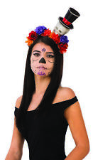 Day Of The Dead Womens Adult Headband With Skulls Flowers