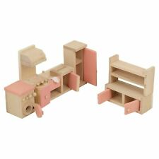 Children Wooden Doll House Furniture Set Kitchen Stove Washing Machine And More