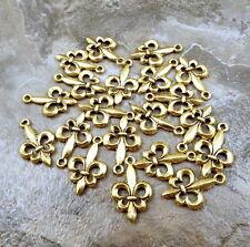 Twenty (20) Gold Tone Pewter Charms - FLEUR DE LIS - 5093