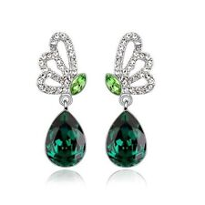 18K White Gold Plated Made With Swarovski Crystal Butterfly Teardrop Earrings