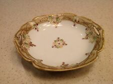Vintage Hand Painted Nippon Small Bowl With cut Out Handles Floral Braided Dsgn