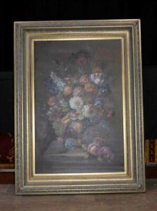 XL Dutch Oil Painting Floral Still Life Gilt Frame Flowers