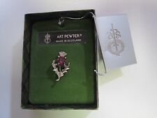 Art Pewter Silver Ladies Scottish Thistle Amethyst Stone Brooch Made Scotland