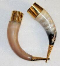 Two brass decorated usable Viking Drinking Horn ale beer wine mead sale gift mug