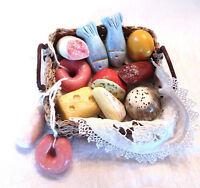 12x  Kaufladen Zubehör -  Wurst, Käse, Fisch,  Puppenküche, Salzteig