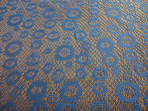 Satin Back Bonded Blue and Shimmering Gold lace 6 YARDS