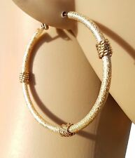 New Gold Textured Round Hoop Fashion Earrings