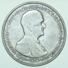 More details for hungary, admiral horthy 5 pengÖ, 1930-bp budapest mint silver coin f/avf