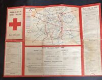 WW2 American Red Cross Map of Paris France, with Insert of Club Location Map
