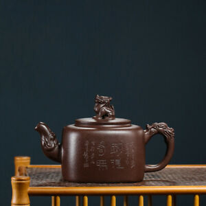 full handmade teapot master pot marked real yixing zisha hand carved purple grit