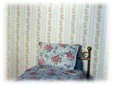 pink striped roses dolls house wallpaper