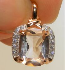 ROSE GOLD OVER 925 STERLING SILVER CUSHION CUT MORGANITE & DIAMOND  PENDANT