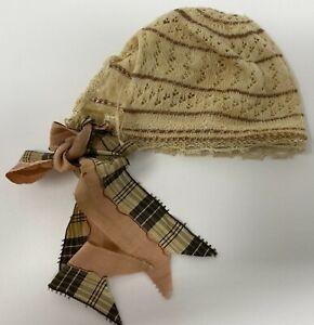 Vintage Antique Doll Hat Bonnet With Plaid Pink Ribbon