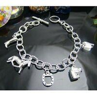 ASAMO Damen Bettelarmband Armband 5 Pferde Motive 925 Sterling Silber plattiert