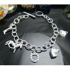 Damen Bettelarmband Armband mit 5 Pferde Motiven 925 Sterling Silber plattiert