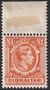 Gibraltar 1938 KGVI £1 Orange Marginal Mint SG131 cat £45 early printing