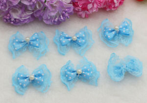 100PCS Satin Ribbon Bowknot Applique Lace Pearl Bows Design NEW Craft Ribbons