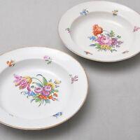 Meissen 2er Set alte Suppenteller / tiefe Teller mit Blumen Bukett, Knaufzeit