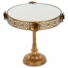 Amalfi Decor Antique Gold Mirror Cake Stand, Floral Dessert Cupcake Pedestal