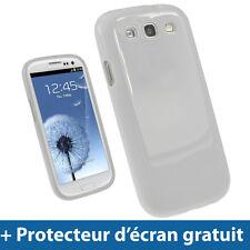 Blanc Étui Housse Case Brillant TPU pour Samsung Galaxy S3 III i9300 Smartphone