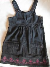 Black Jean Romper with Pink Embroidery Girls Size 7 - Back to School