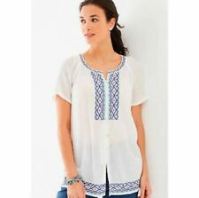 J. Jill White Blue Geometric Top Blouse Sz L Embroidered Button Up Boho Gauze